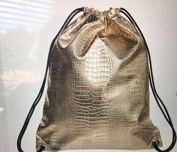 Factory Cheap Fashion Holographic Laser PU Drawstring Bag With Logo