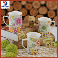 Promotional gifts colorful porcelain mug with flower pattern