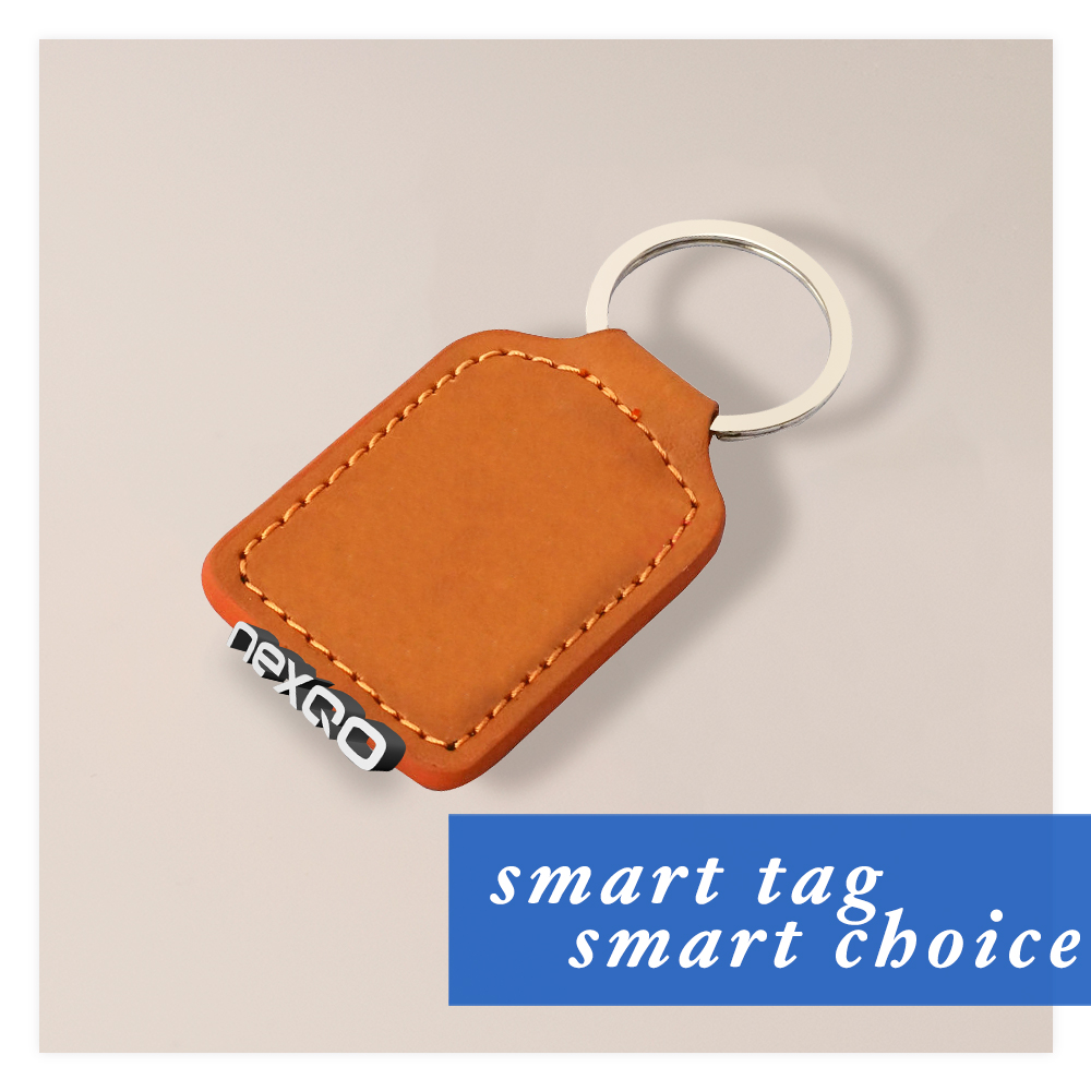 Custom RFID leather keychain key fobs with MIFARE Ultralight C chip