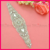 jewelry rhinestone and pearl applique trimming for sash WRA-545
