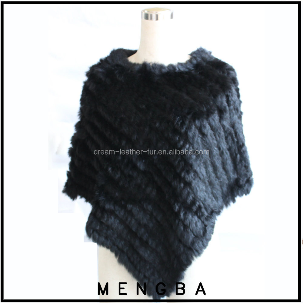 black poncho soft and warm knitted rabbit fur poncho fur vest for sale