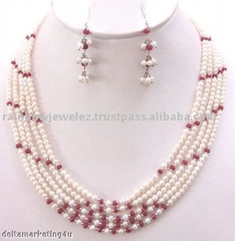 Designer Pearl & Ruby necklace with sterling silver findings
