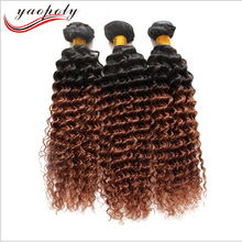 Brazilian human hair 1B/30 ombre color kinky curly cheap price for african american weave bundles hair weft