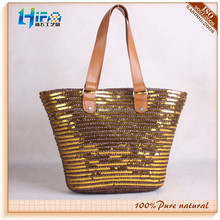sequine wheat straw tote bags shopping bags
