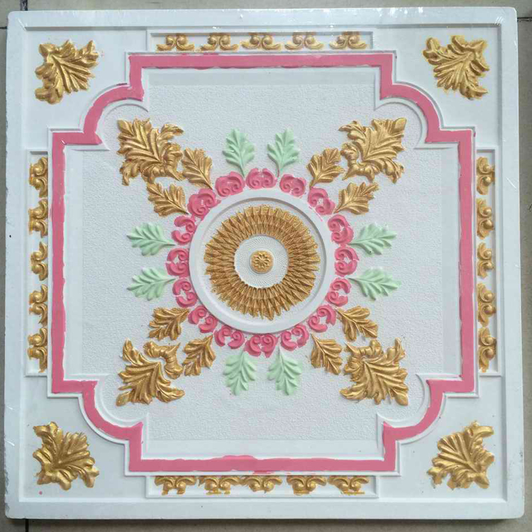 Colorful Grg Embossed Hand-Painted Water Resistant Decorative Acoustic Drop Gypsum Ceiling