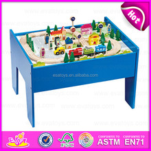 2015 Best quality Kids toy railway wooden train set,Hot sale Wooden Block Train Toy set,60/S Wooden Train Set With Table W04D007