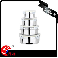 4pcs Stainless Steel mixing bowl/Salad Bowl/ Food Containers with PE lid