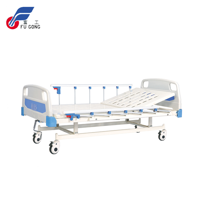 Semi fowler one stainless steel crank manual hospital bed with wheels and aluminum