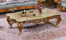 Luxury Victorian Wood Carving Coffee Table With Marble Top/Classic Living Room Furniture Wooden Coffee Table, MOQ 1 PC
