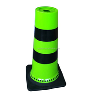 Plastic Traffic Safety Road Racing Cone Connecting Rod Green Flexible Traffic Cone with Black PVC Base