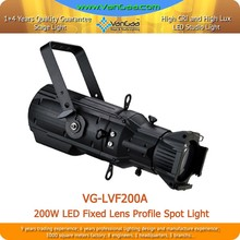 Ellipsoidal 200W COB LED Leko Light 200W Fixed Lens LED Profile Spot Light With Plastic Shell