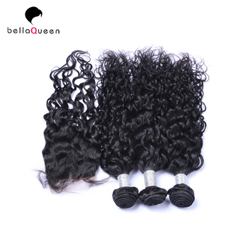 Brazilian Water Curly 3 Bundles Hair With Closure Raw Remy Human Hair Weave Closure With Baby Hair For Sale