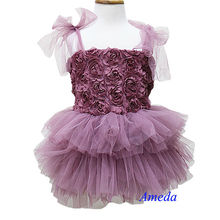 Dusty Pink Rosettes Rose Tutu Party Dress Wedding Flower Girl Pettiskirt 1-7Y