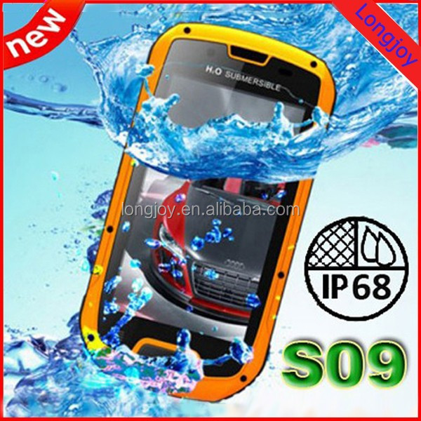 S09 IP68 Android Mobile Phone Waterproof Dustproof Shockproof mtk6589 Quad Core 1GB RAM 4GB ROM Walkie Talkie