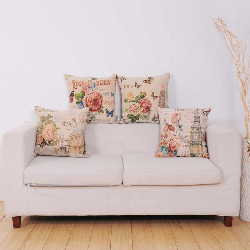 PLUS factory hot selling beautiful flower jacquard seat backrest fancy cushion cover