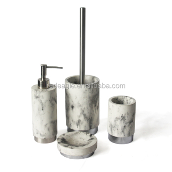 High level imitating white marble look plain cement toilet room accessories