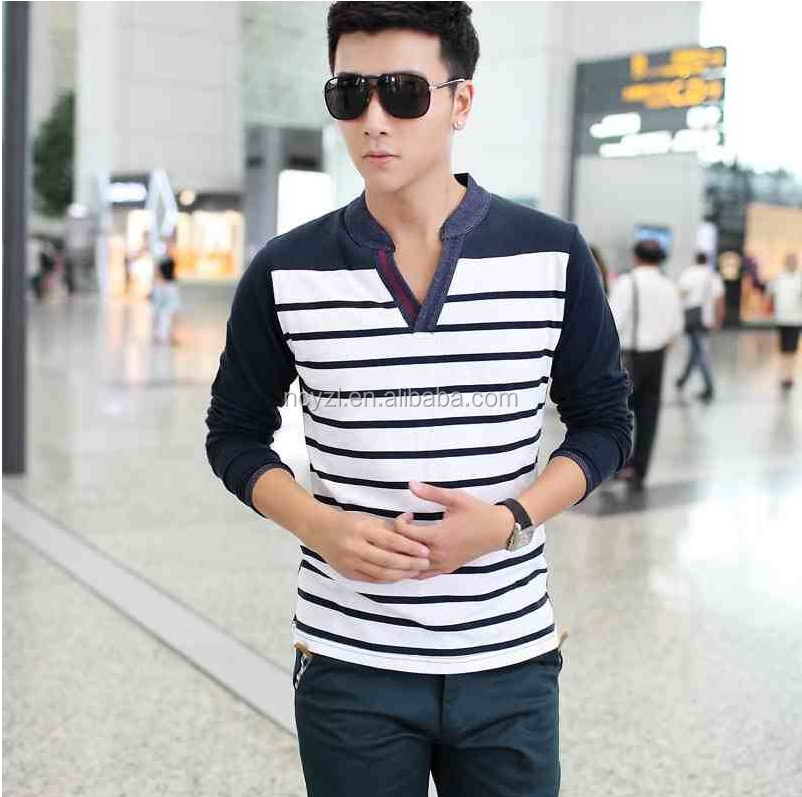 custom wholesale new Korean fashion long sleeve striped fitness men t shirt