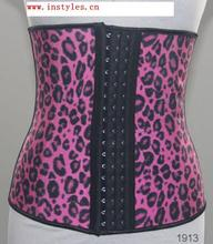 Gathered her corsage waist leopard print body part to the garment