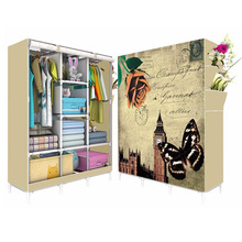 FABRIC CANVAS CLOTHES STORAGE ORGANISER WARDROBE(FH-FW105165)