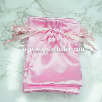 TOP SALE OEM pink satin party favor loot bags