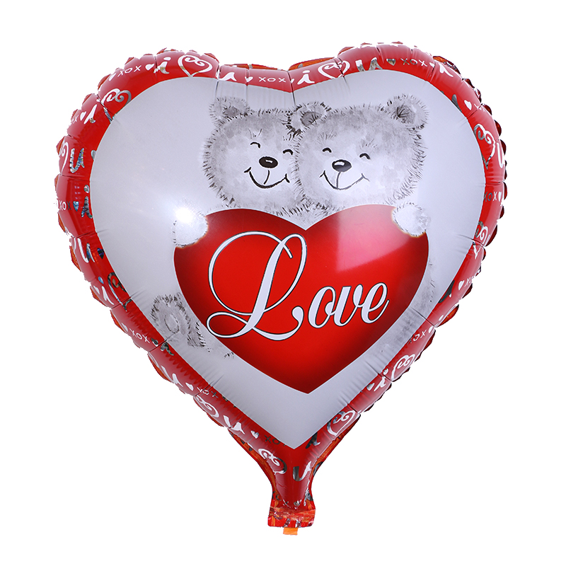 Heart shape bear couple printed balloons valentines day balloon made in china mylar foil balloon
