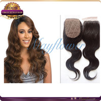 "12"" 3.5*4 silk base top closures natural color body wavy Malaysian body wave hair closure pieces free part/middle part/3 part"