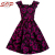 Women Stretchable Cotton Satin Poppy Print Lady Elegant Vintage Dress Made In China