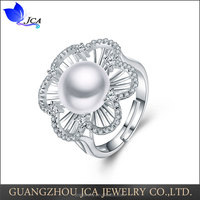 925 sterling silver cz 10mm freshwater pearl engagement ring
