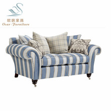 Latest Living Room Furniture Blue Stripe Fabric Down Feather Sofa