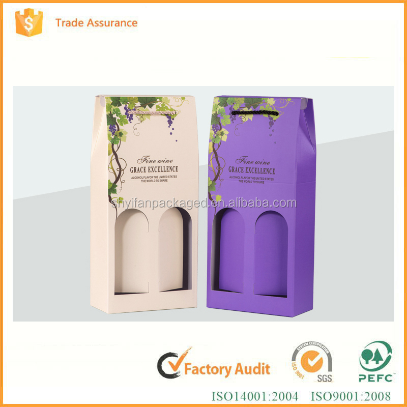 portable paper wine box for single bottle packaging cardboard wine box printing