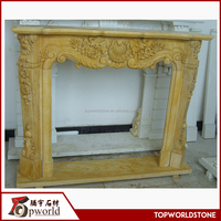 Gold yellow marble fireplace Cheap china gold beige marble fireplace
