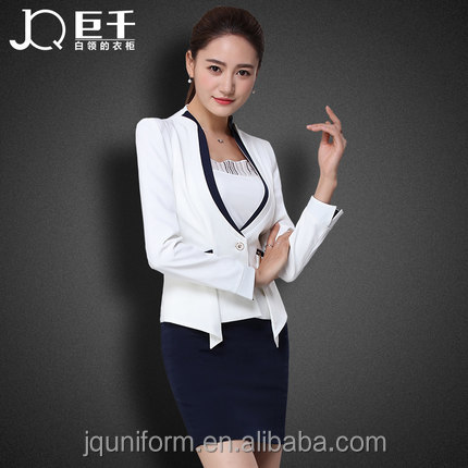 Juqian New 2016-2017 Autumn Winter Women Business Suits White Formal Office Ladies Designer Skirt Suits in Guangzhou China