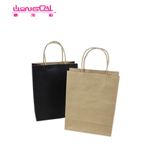 Accept Custom White Colored Kraft Carry Out Paper Bag With Handle