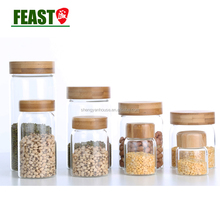 Hot selling hermetic glass storage jars wholesale /glass jar wooden lid