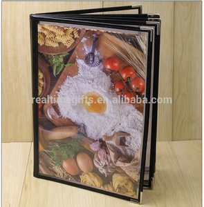 Cheap Metal Corner 12 Views 6 Pages Restaurant PU Leather And Clear PVC Menu Cover
