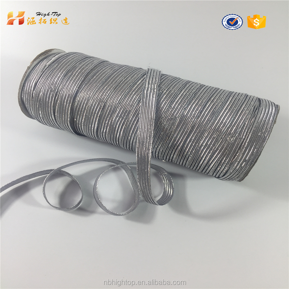 Shiny silicone rubber elastic braided bands tape with silver yarn