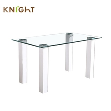Wholesale european style modern square tempered glass dining table with PVC legs