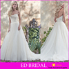 LN216 Delicate thin belt low back simple pleated top a line cheap price wedding dress sale