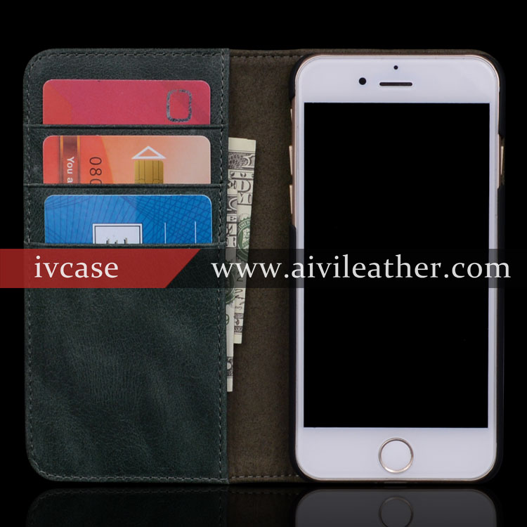 for iphone 7 top grain cow genuine leather case cover with wallet card holders