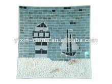 squal mosaic glass plate/ plater in ocean design