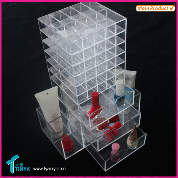 Best Gift Customized Lip Brillant Lipsticks Holder 3 Drawer Acrylic Makeup Organizer Spinning Clear Mac Makeup Brushes Display