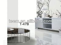 2014 modern interior furniture glass coffee table wheels T-47B