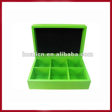 6 Grids Green Colored Wooden Slimming Tea Box
