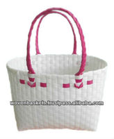 Cheap Woven Baskets Shopping weaving Bag (ATS-F01)with White or Colorful made from Plastic Straps Polypropylene pp