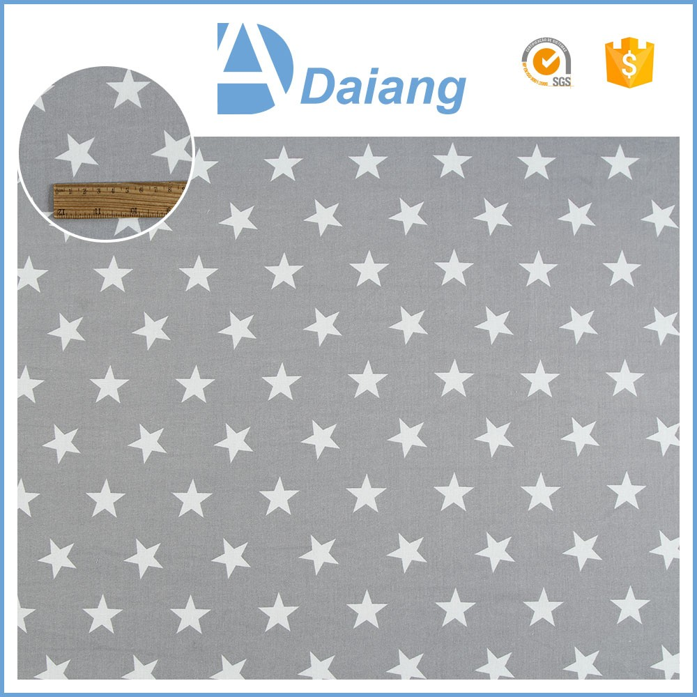 New hot products100% printed grey star plain cotton fabric market