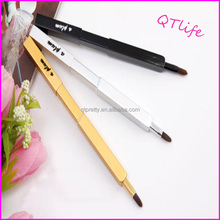 High quality yellow Wolf retractable lip brush custom logo makeup brushes