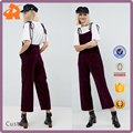 custom made jumpsuit,wide leg girls high quality velvet jumpsuit in china