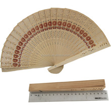 Promotion gifts Chinese carved folding fragrance sunflower wood hand fan
