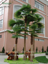 China wholesale artificial palm trees ,high imitation fiberglass bent coconut tree with fruit