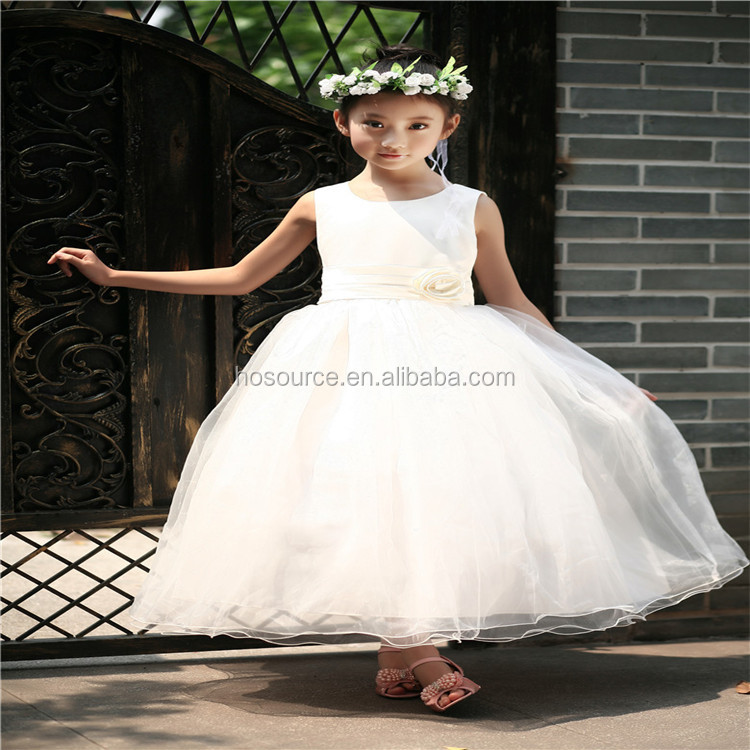 Latest Hot Sale Baby Girl White Dress Flower Organza Baby Girl Prom Dresses
